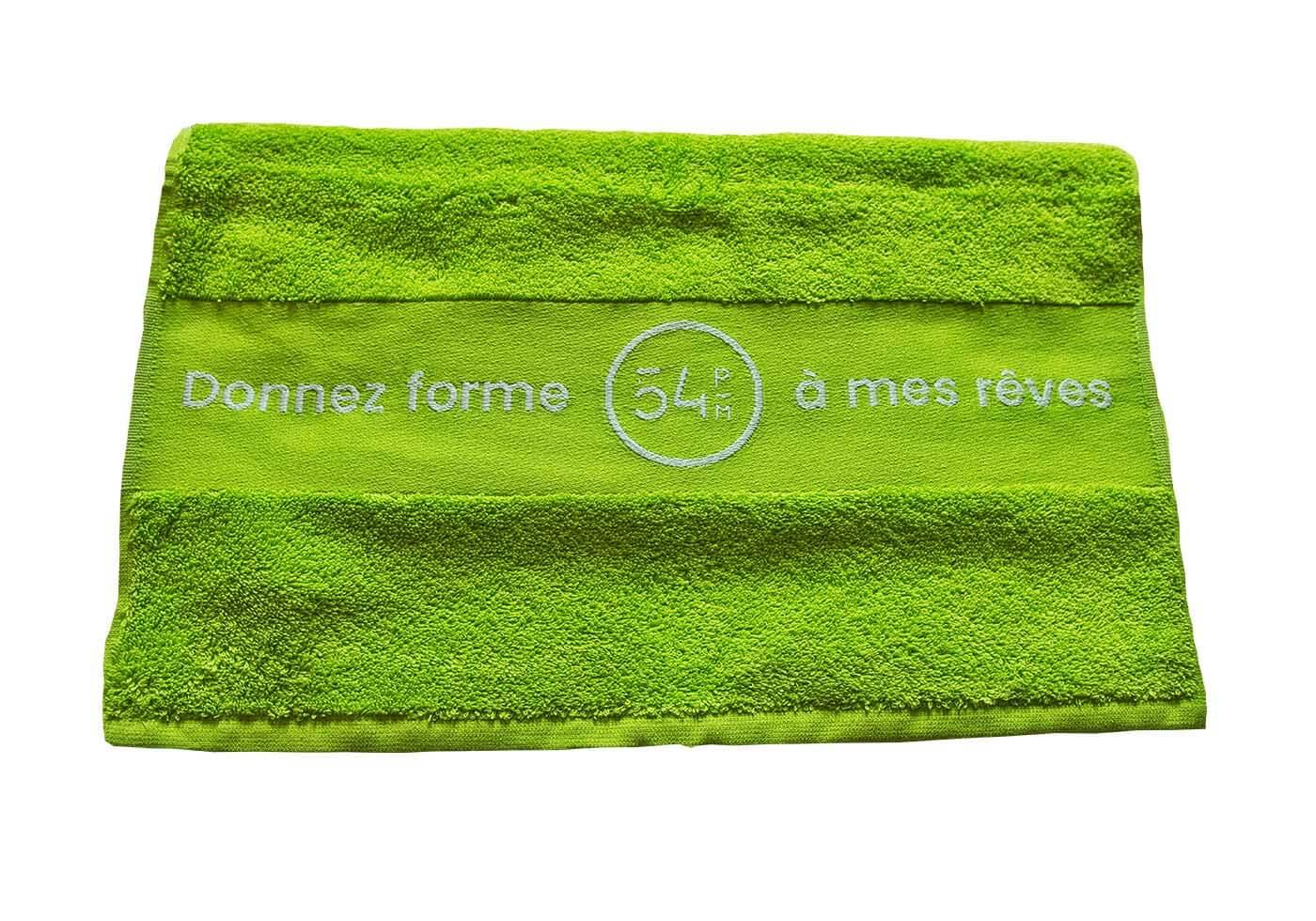 Une serviette en coton 54PM au prix de 11,90€TTC.